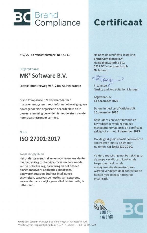 ISO 27001_2017 Certificaat MK² Software